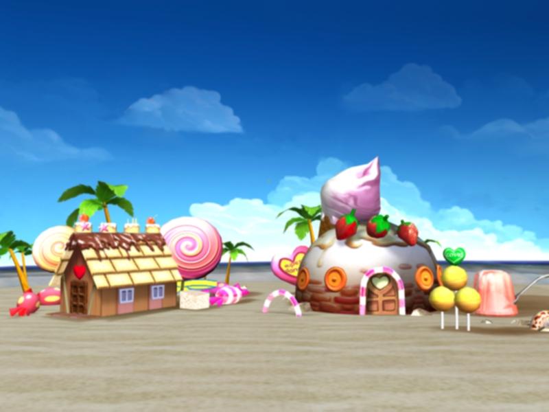 沙滩简笔画海边彩色